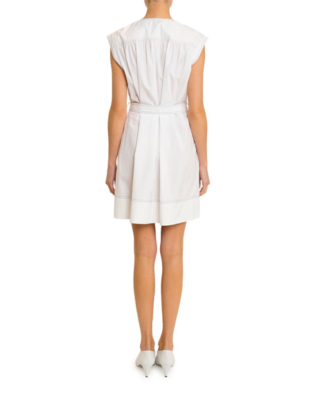 Image 2 of 2: Givenchy Belted Topstitched Heavy Cotton Dress