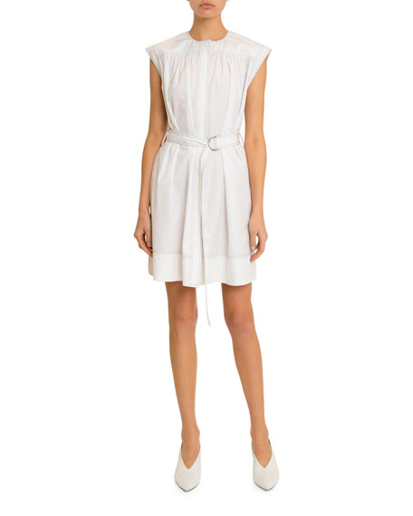 Image 1 of 2: Givenchy Belted Topstitched Heavy Cotton Dress