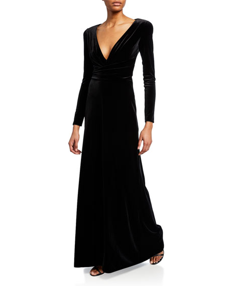 Emporio Armani Velvet Long-Sleeve Gown