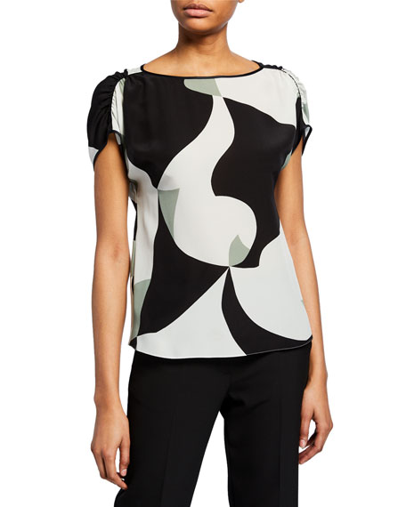 Emporio Armani Abstract-Printed Silk Cap-Sleeve Blouse