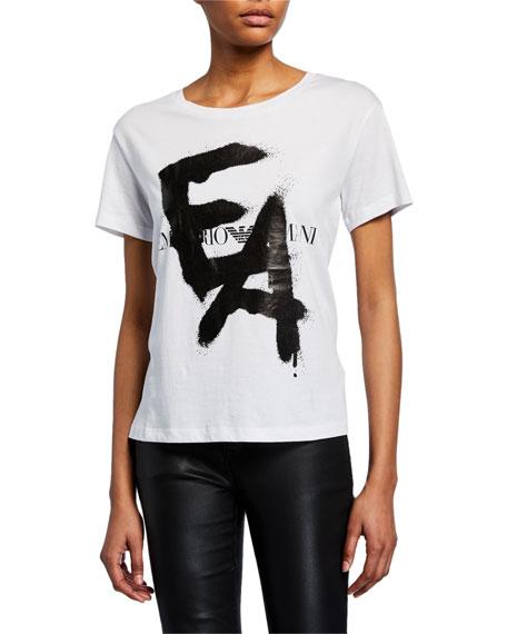 Emporio Armani Short-Sleeve Spray-Painted Logo Tee