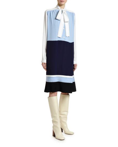 Marni Colorblocked Washed Crepe Silk Dress
