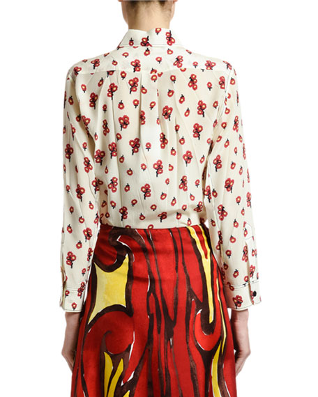 Marni Peace-Print Silk Button-Front Blouse
