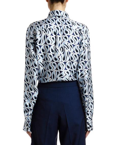 Marni Turbulent-Print Silk Twill Button Front Blouse