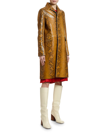 Marni Python-Print Leather Car Coat