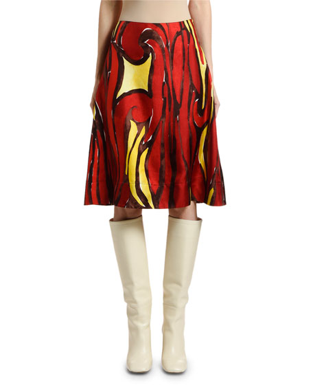 Marni Psychotropic-Print Silk Skirt