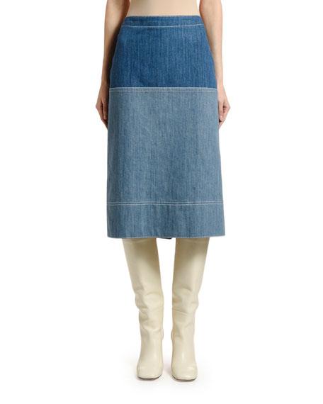 Marni Bicolor Denim Midi Skirt