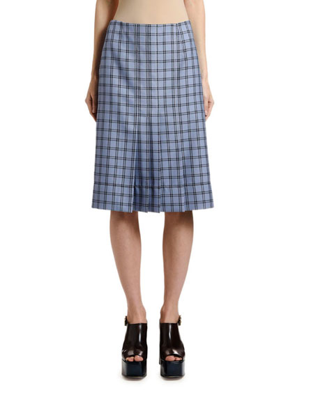 Marni Knee-Length Pleated Plaid Skirt