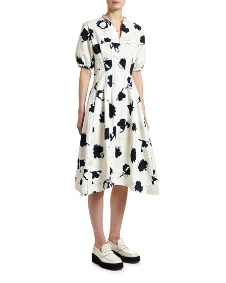 Marni Short-Sleeve Floral Gabardine Dress