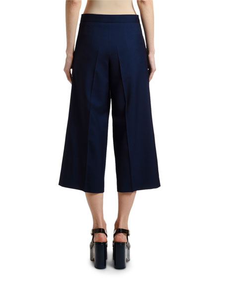 Marni Wide-Leg Crop Tropical Wool Pants
