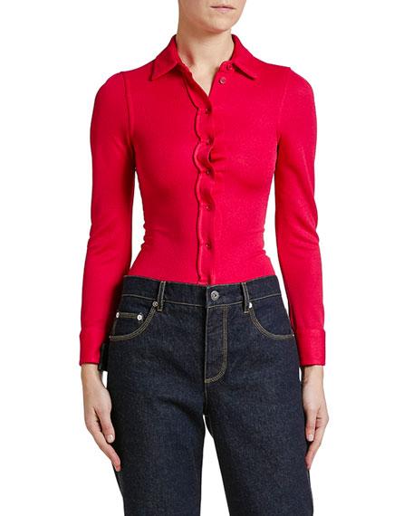 Bottega Veneta Shrunken Button-Front Shirt with Scallops