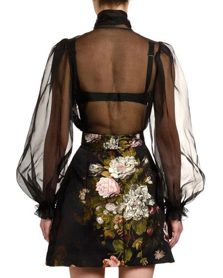 Dolce & Gabbana Tie-Neck Organza Blouse