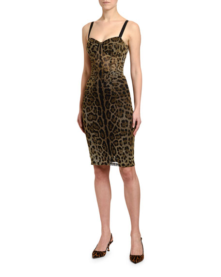 Dolce & Gabbana Leopard-Print Thin-Strapped Tulle Dress