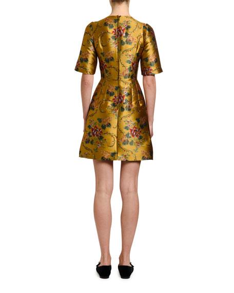 Dolce & Gabbana 1/2-Sleeve Floral-Jacquard Cocktail Dress