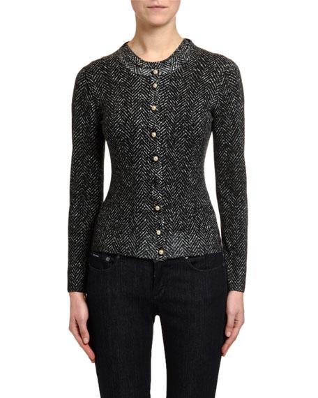 Dolce & Gabbana Pearly-Button Chevron-Knit Wool Cardigan