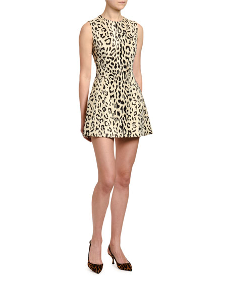 Dolce & Gabbana Leopard Print Faux-Fur Dress