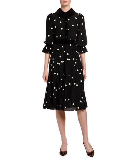 Dolce & Gabbana Long-Sleeve Polka-Dot Crepe de Chine Dress