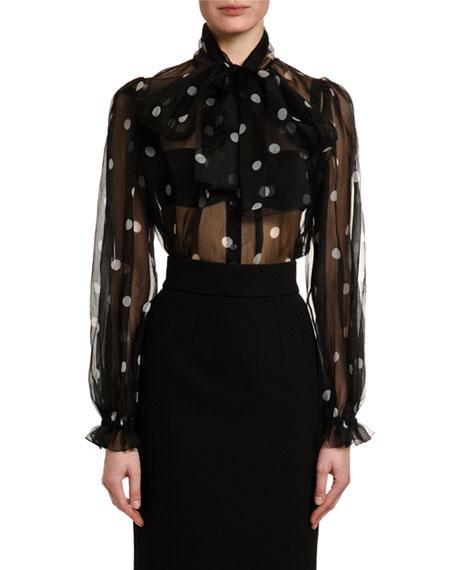 Dolce & Gabbana Tie-Neck Polka-Dot Organza Blouse