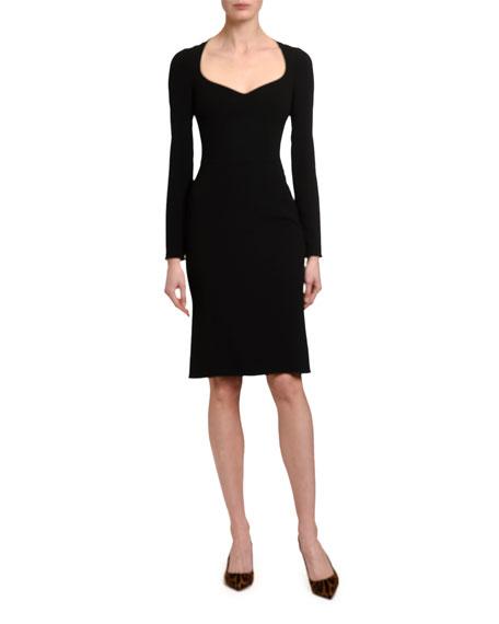 Dolce & Gabbana Long-Sleeve Sweetheart Heavy Lace Dress