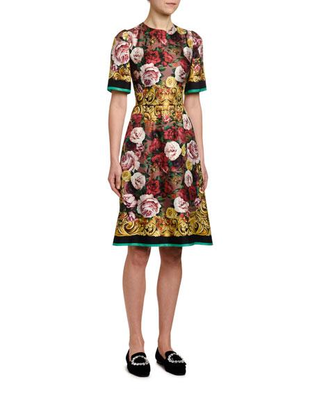 Dolce & Gabbana Short-Sleeve Silk Twill Baroque Dress
