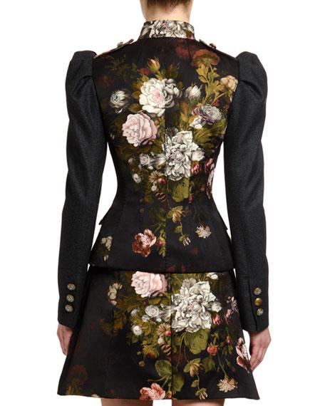 Dolce & Gabbana Baroque Rose-Jacquard Puff-Sleeve Jacket