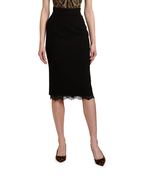 Dolce & Gabbana Lace-Hem Pencil Skirt