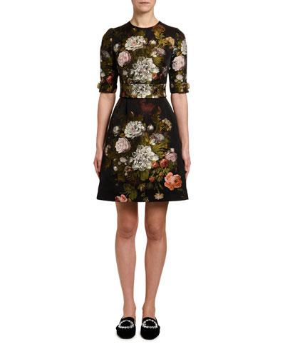 1/2-Sleeve Baroque-Rose Jacquard Dress
