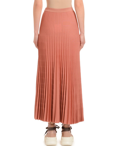 Agnona Pleated Wool Skirt, Dark Pink