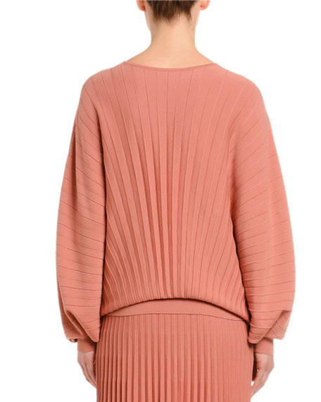 Agnona Dolman-Sleeve Pleated Wool Sweater