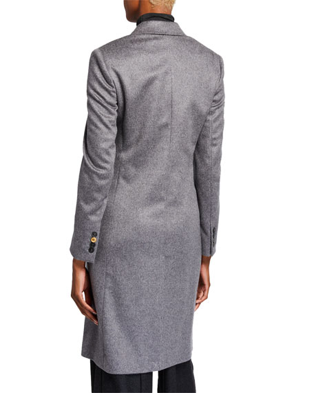 Agnona Cashmere Single-Breasted Slim Coat, Gray