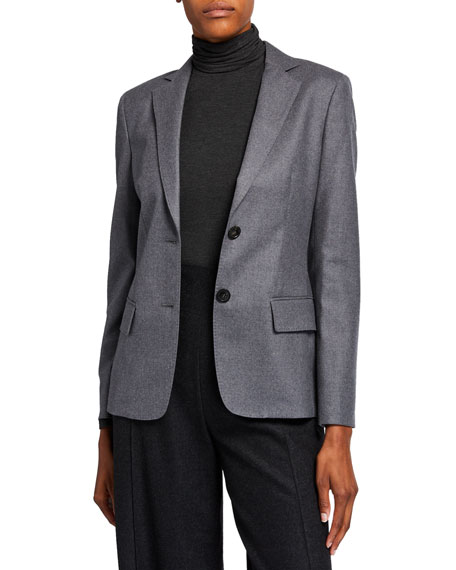 Image 1 of 4: Agnona Wool Flannel 2-Button Jacket