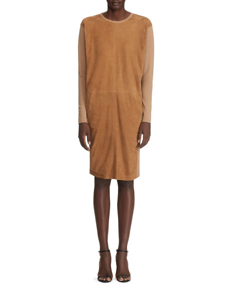 Ralph Lauren Collection Long-Sleeve Suede Front Dress