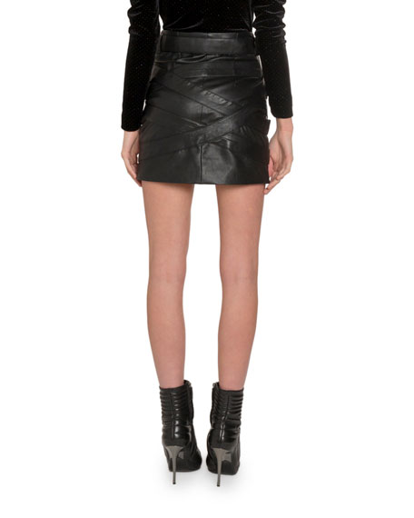 Redemption Buckle-Front Faux Leather Mini Skirt