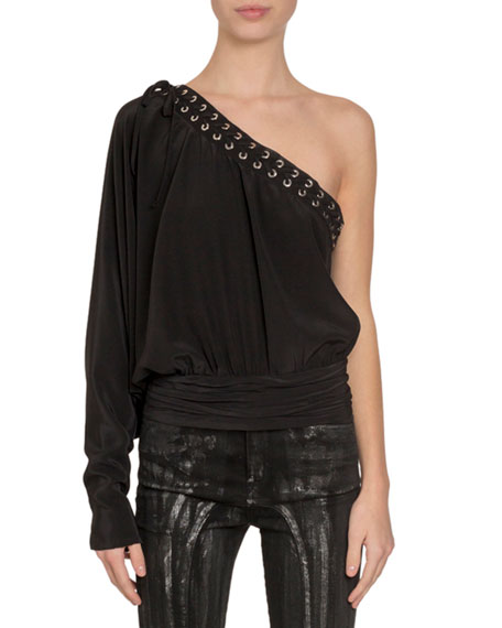 Redemption One-Sleeve Banded-Waist Lace-Up Silk Top