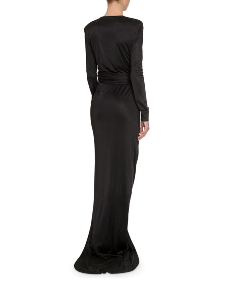 Redemption Gathered Tie-Waist Long-Sleeve Column Gown