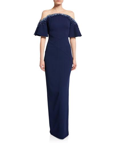Off-the-Shoulder Crystal-Embellished Gown
