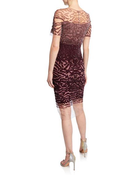 Pamella Roland Crystal-Embellished Ombre Illusion Cocktail Dress