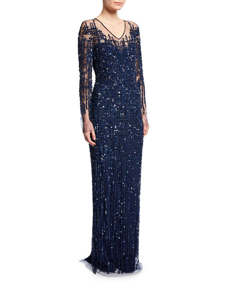 Pamella Roland Sequined Crosshatch-Embroidered Gown