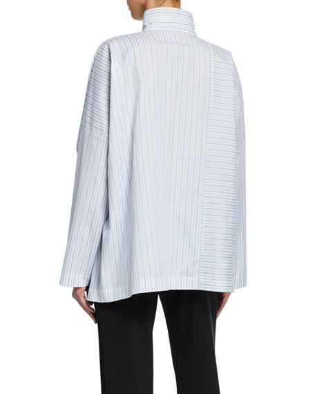 Eskandar Long-Back Stand-Collar Paneled Shirt