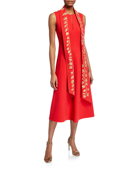Oscar de la Renta Golden-Leaf Embroidered Sash Dress