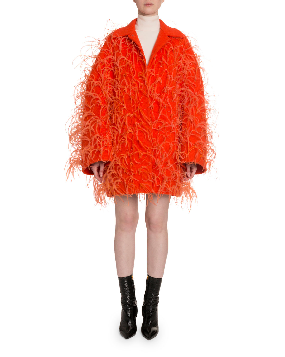 Valentino Oversized Feather-Trim Drop-Shoulder Coat