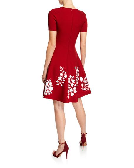 Oscar de la Renta Short-Sleeve Floral-Embroidered Dress