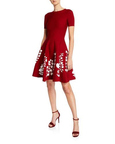 Short-Sleeve Floral-Embroidered Dress