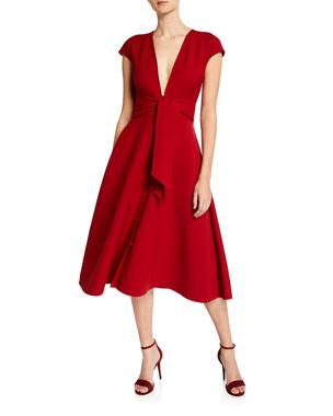 8c6fdc6bcf0 Oscar de la Renta V-Neck Tie-Waist Short-Sleeve Dress