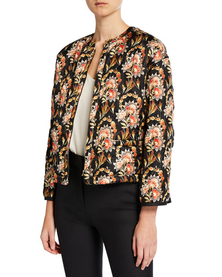 Image 1 of 3: Oscar de la Renta Floral Quilted Reversible Jacket