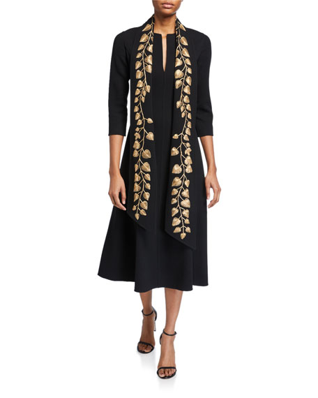 Oscar de la Renta Golden-Leaf 3/4-Sleeve Sash Dress