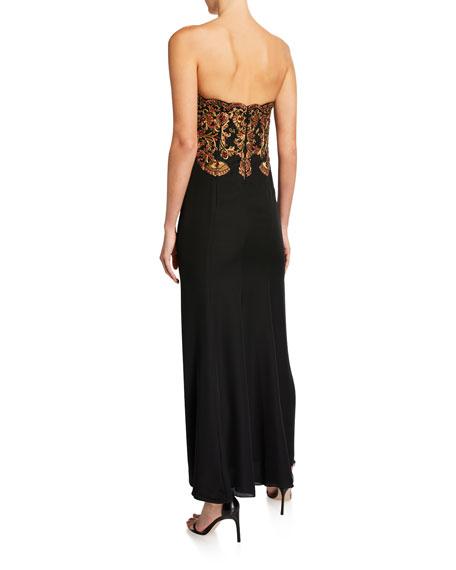 Oscar de la Renta Beaded Silk-Georgette Strapless Gown