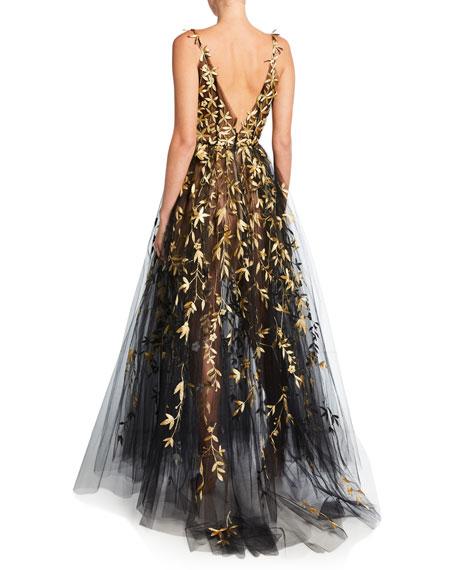 Oscar de la Renta Golden Floral-Embroidered Tulle Illusion Gown