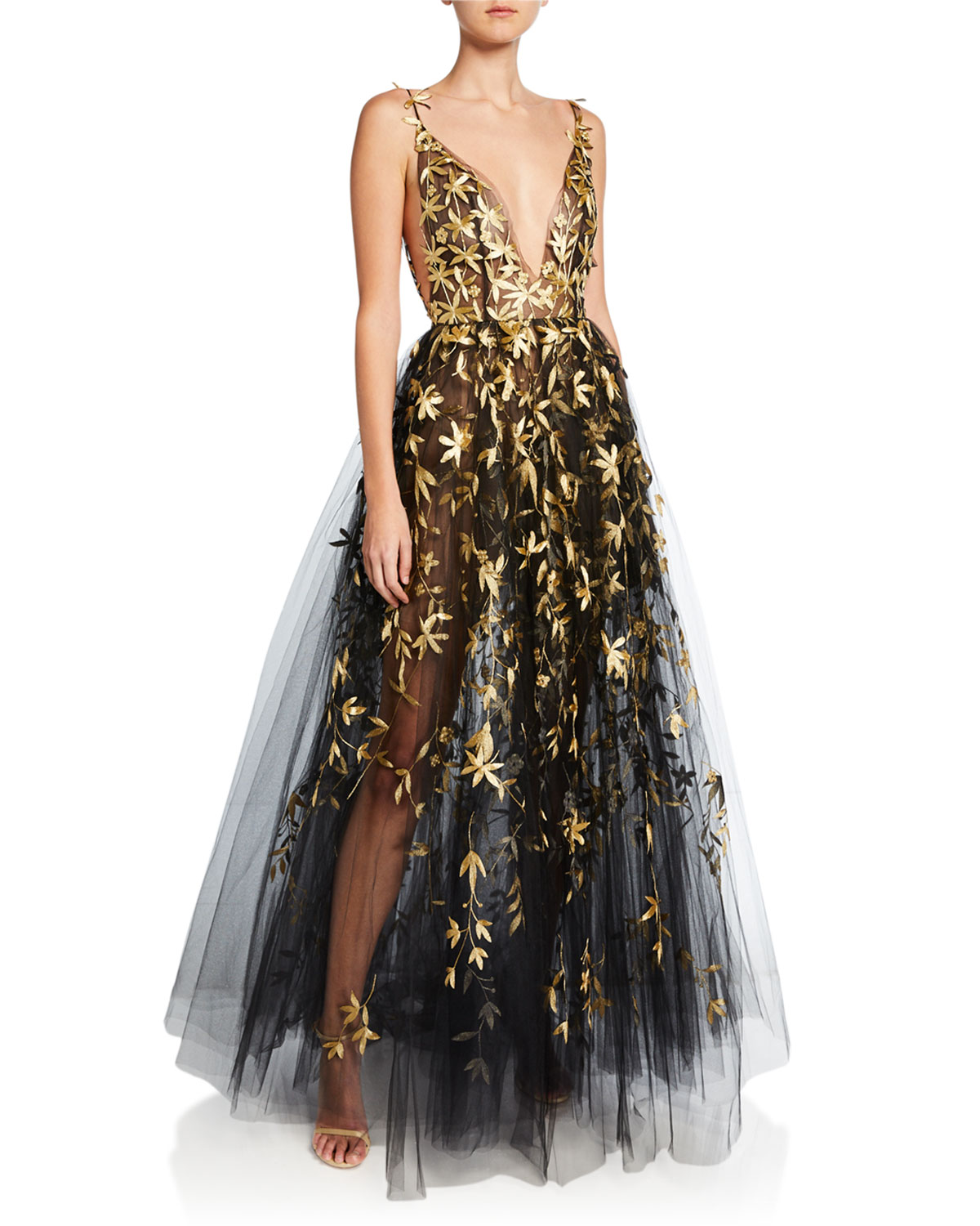 Golden Fl Embroidered Tulle Illusion Gown
