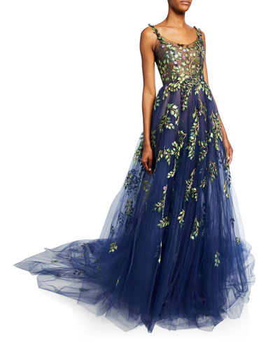 Botanical Branch Embroidered Tulle Gown